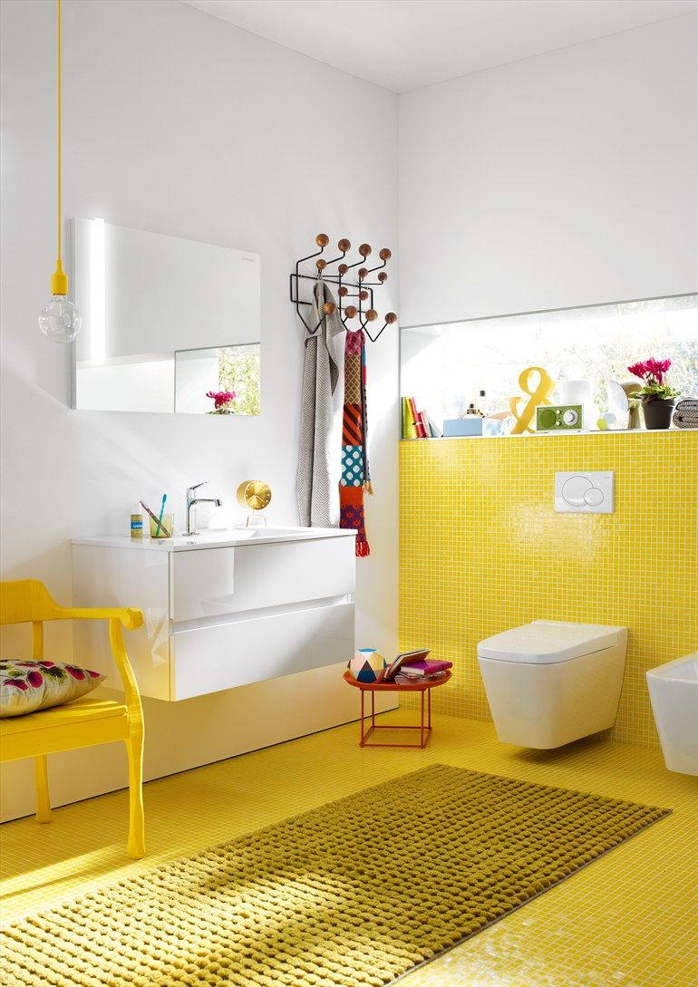 color and wall mounted sink and toilets | bathrooms/ powder room ...