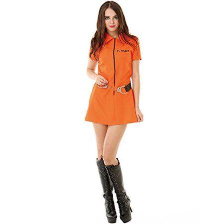 Boo Inc Intimate Inmate Womens Halloween Costume Orange Black