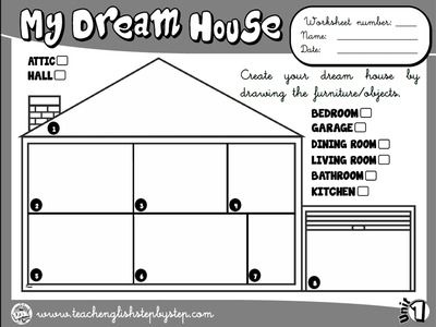 My House Worksheet 8 Bw Version Dom Pinterest English