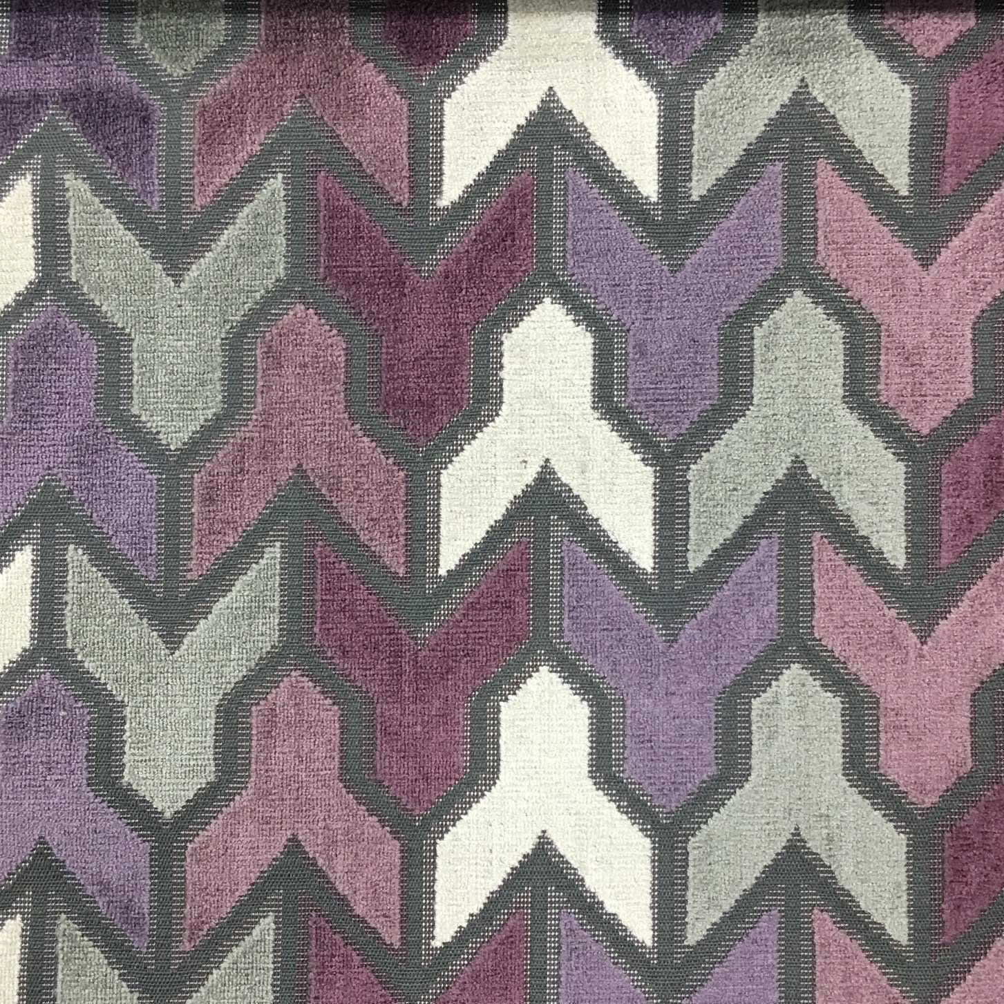 Rocket Geometric Pattern Cut Velvet Upholstery Fabric By The Yard Available In 14 Colors Fig Top 2