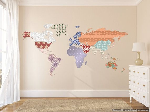 Cultural world map decal pattern map wall decal clear vinyl decal cultural world map decal pattern map wall decal clear vinyl decal nursery room gumiabroncs Gallery