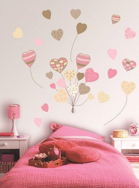 Dibujo de corazones en el cuarto de los ni os for Stickers habitacion nina