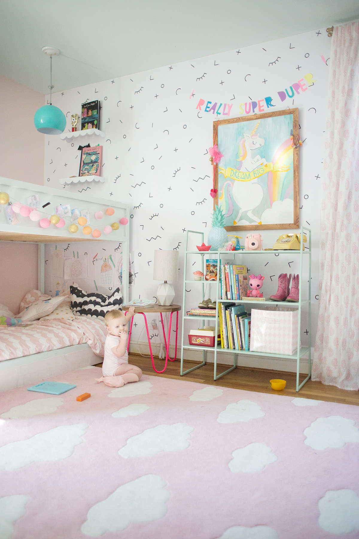 Unicorn Painting Shared Girls Bedroom Small Kids Room Unicorn