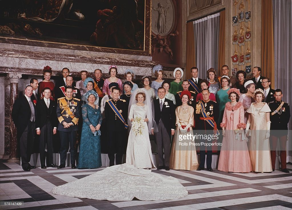 Formal group portrait of the wedding party of Princess Beatrix of the Netherlands and her husband Prince Claus of the Netherlands, formerly Claus von Amsberg in Amsterdam, Netherlands on 10th March 1966. (Photo by Rolls Press/Popperfoto/Getty Images)