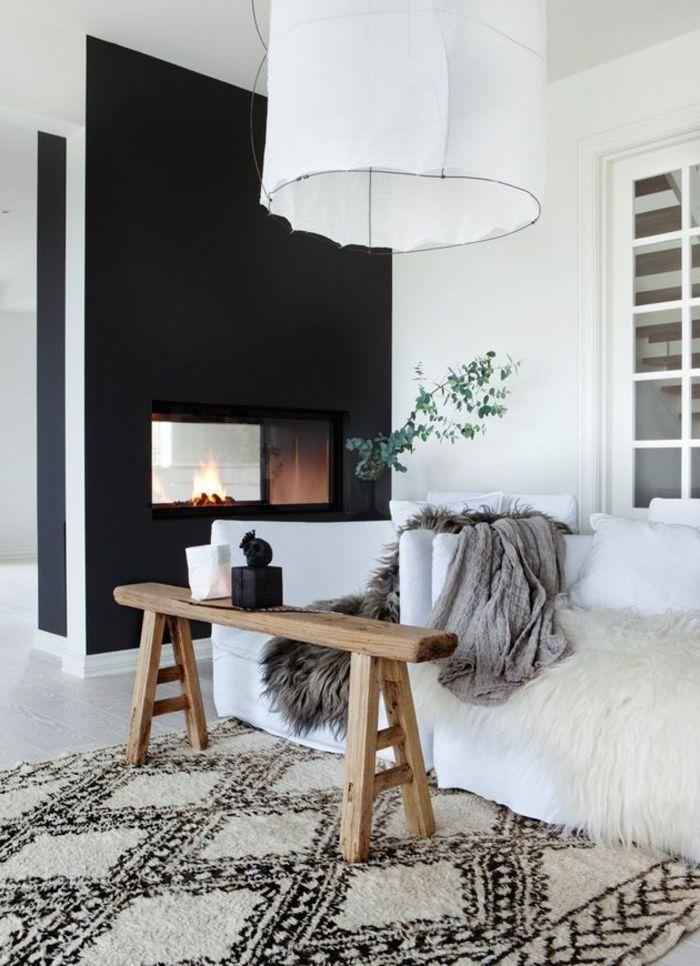 behagliches wohnzimmer skandinavisch einrichten teppich kamin