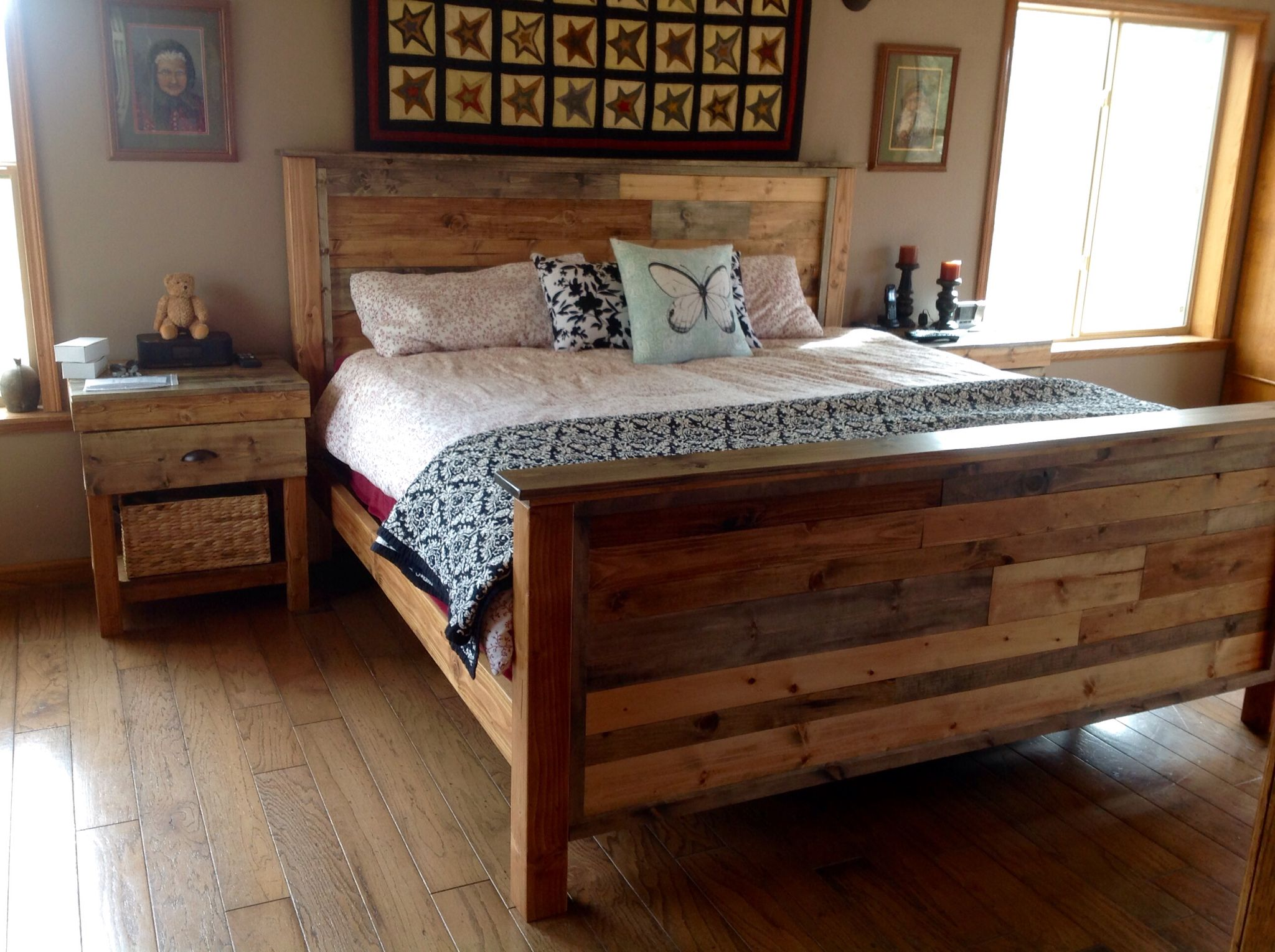 Rustic bed and nightstands. Rustic bedding, Built in bed