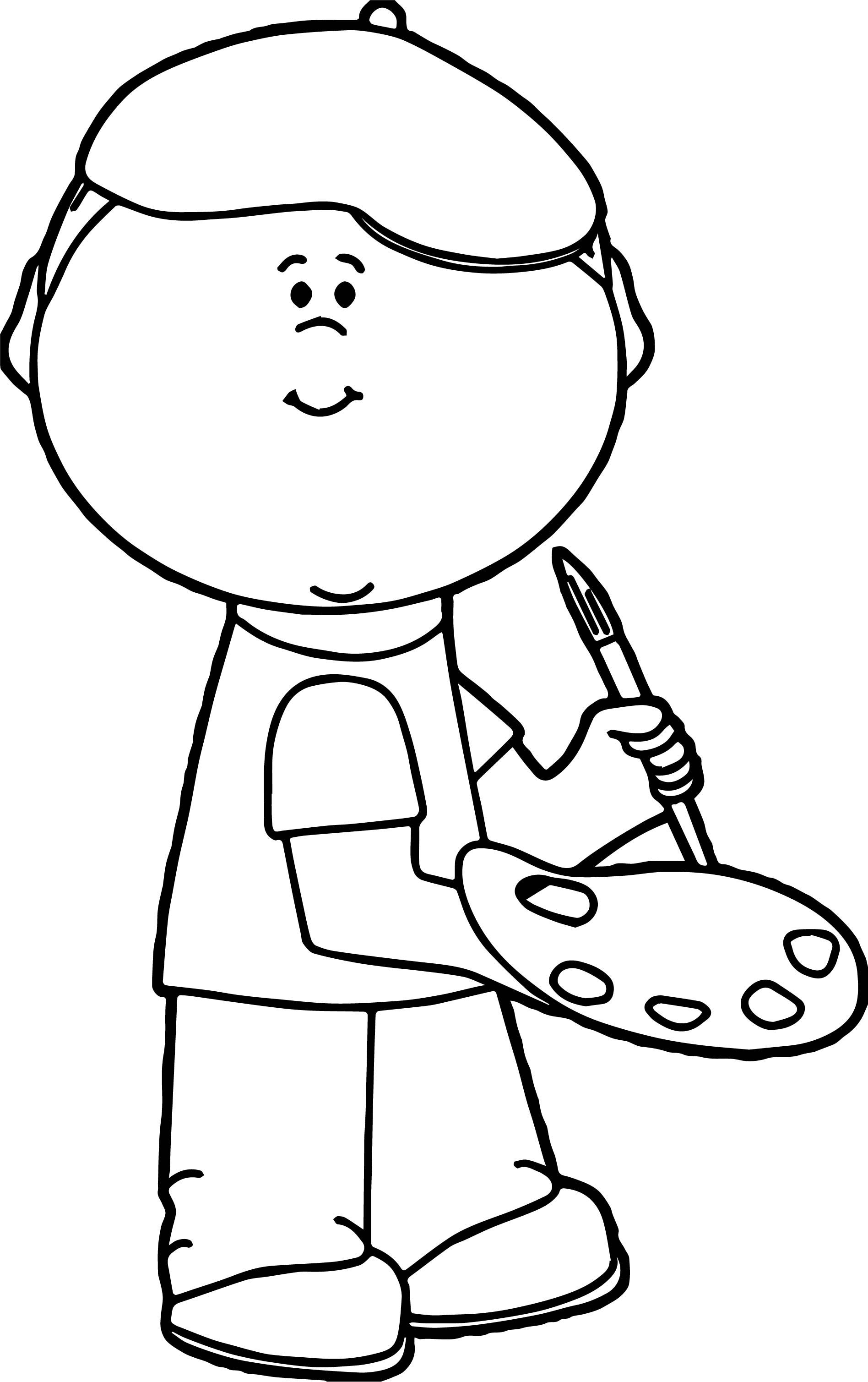Awesome Painter Boy Coloring Page Resim Renkler