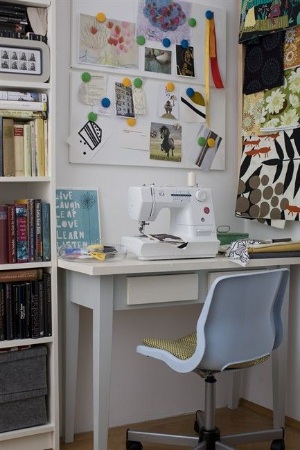 Sewing Nook In Weird Space Upstairs Work Space Decor Craft Room Office Room Inspiration