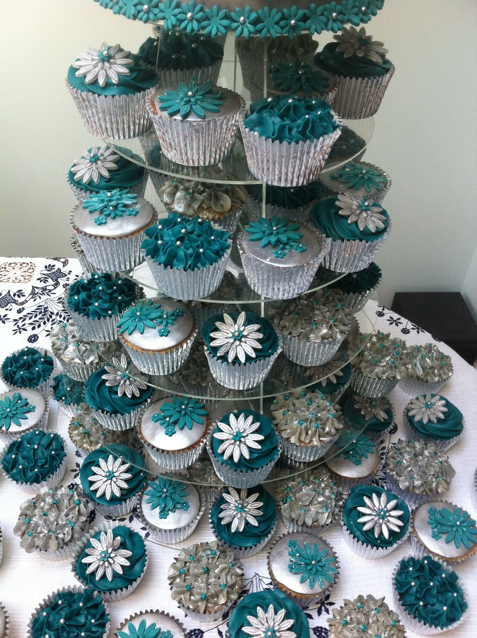 teal and silver wedding cake + 80 cupcakes | wedding | pinterest