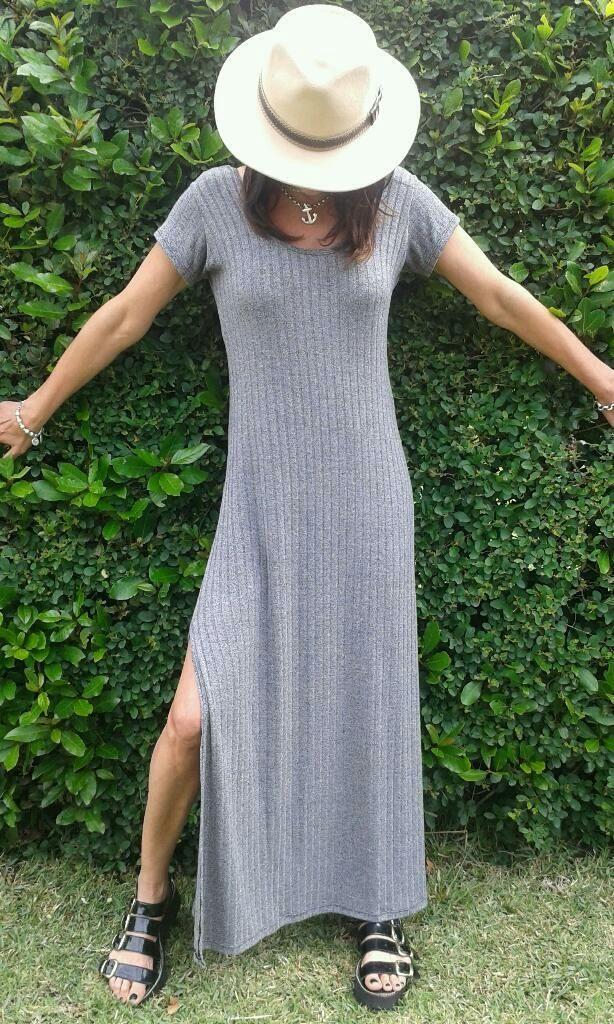 Vestido largo de morley gris