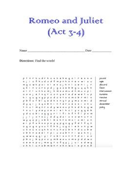 romeo juliet word search act 3 4 word search. Black Bedroom Furniture Sets. Home Design Ideas