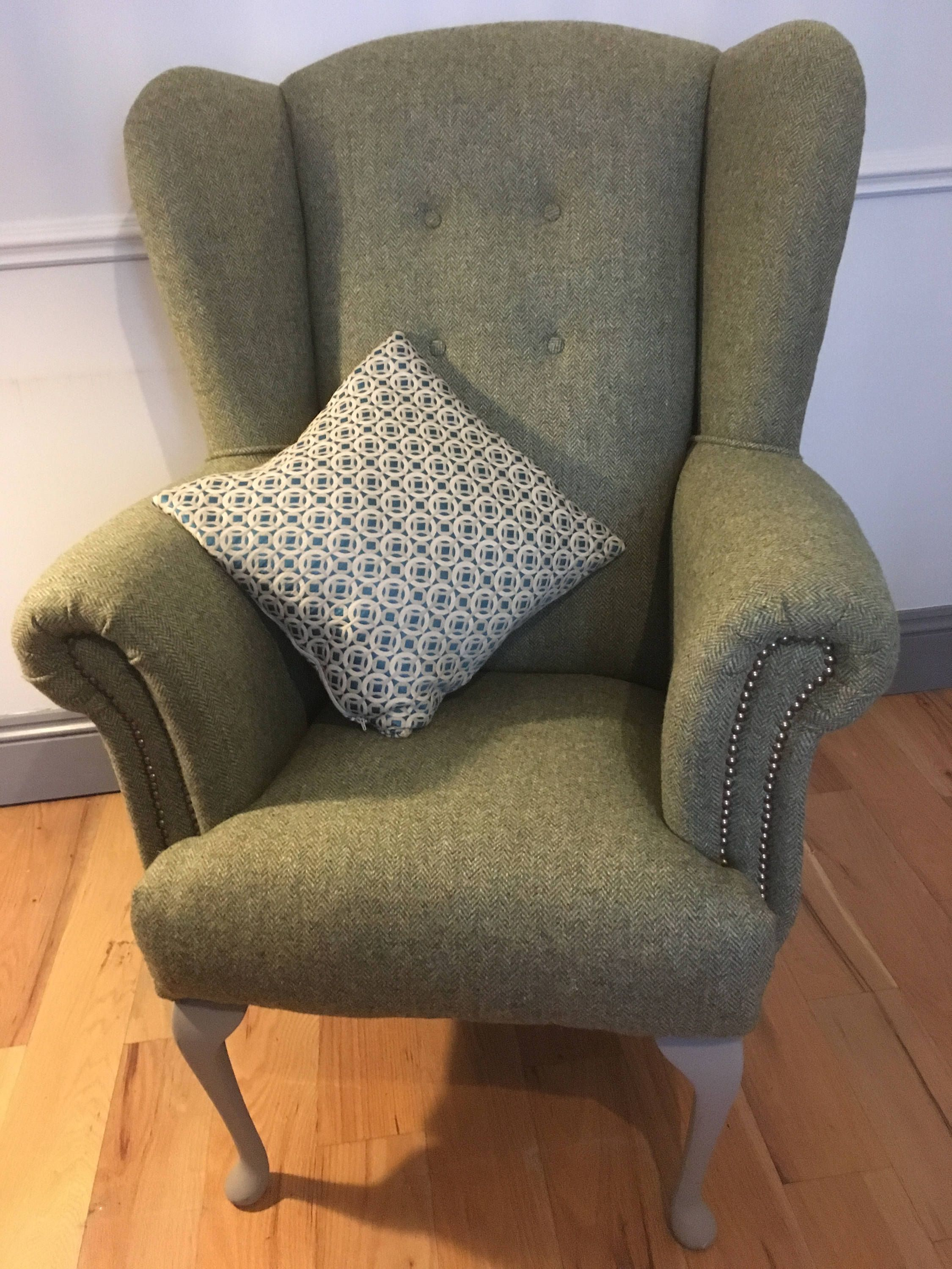 Harris Tweed Wingback armchair by ScruffyUpholstery on Etsy