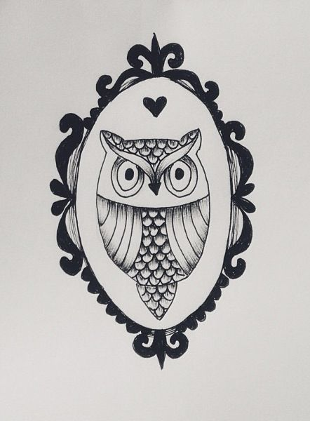 my mini owl drawing owl drawing draw frame animal tattoo