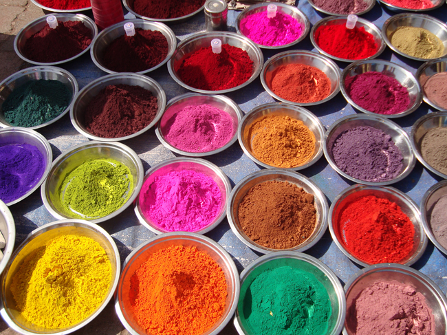 powders for sale during Holi, the Hindu celebration of colour and spring.