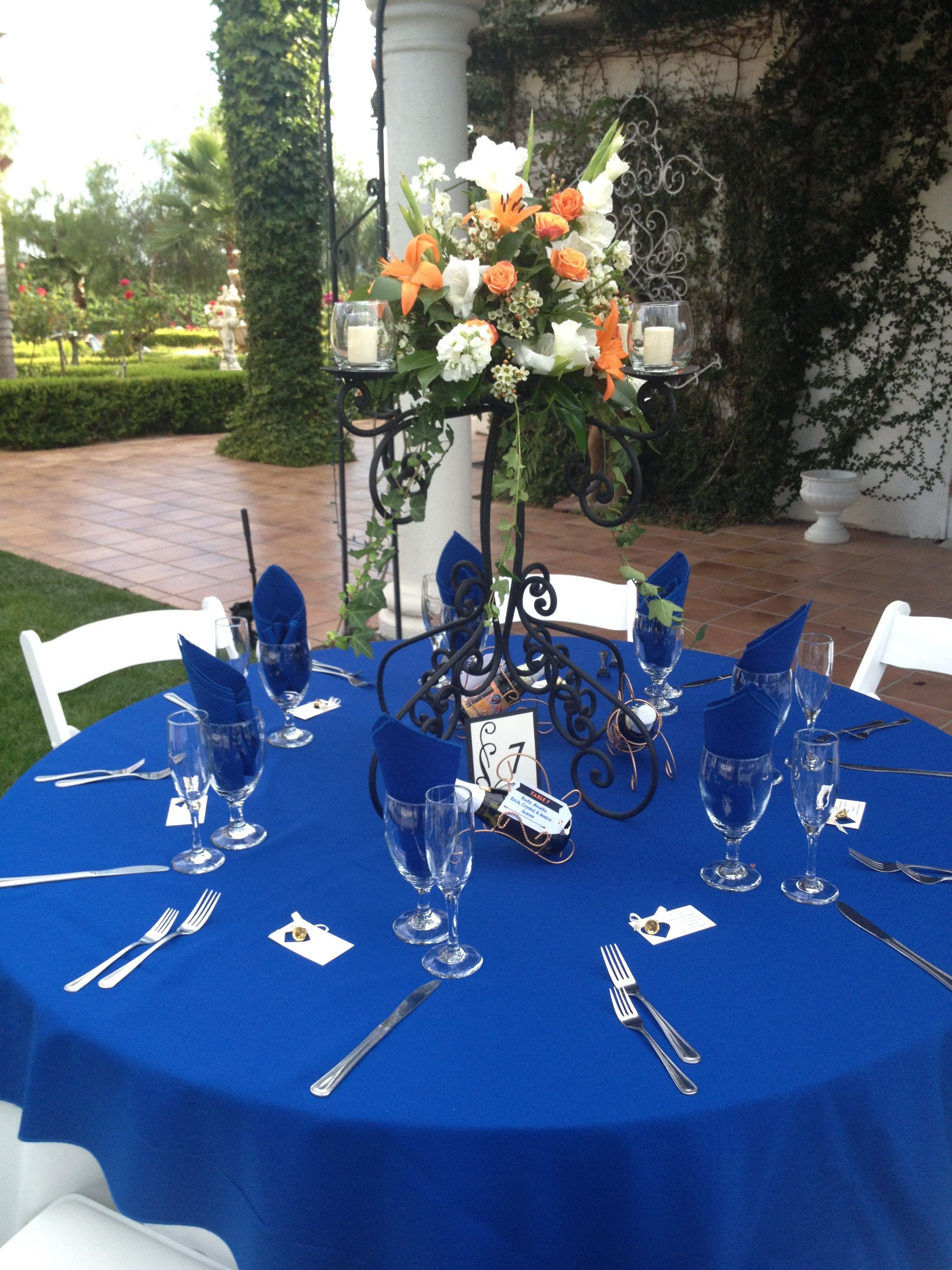 Royal Blue Table Setting August Wedding I Caterer