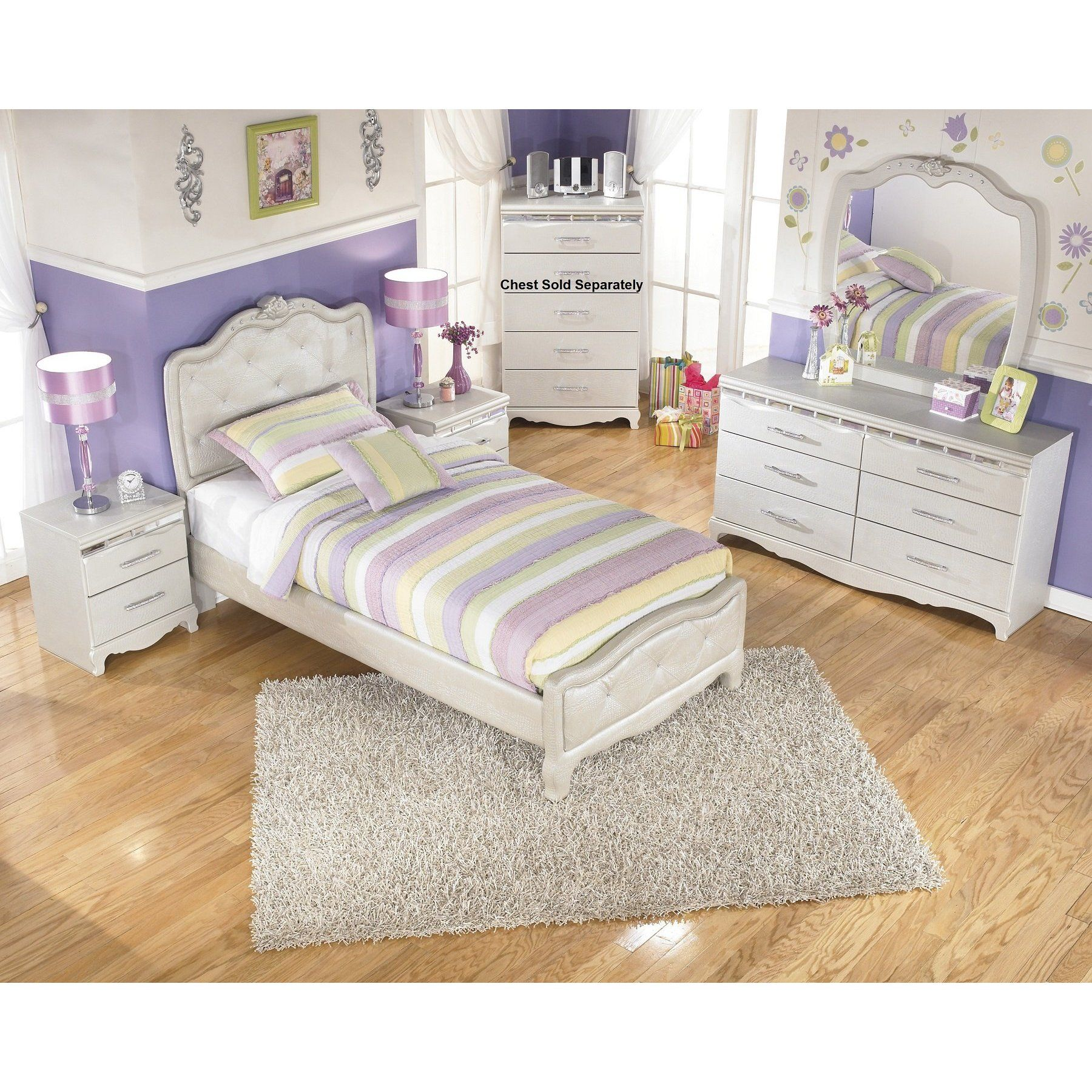 Julia Silver And Pear Girl S Twin Size Bedroom Set Bed Dresser Mirror 2 Night Stands