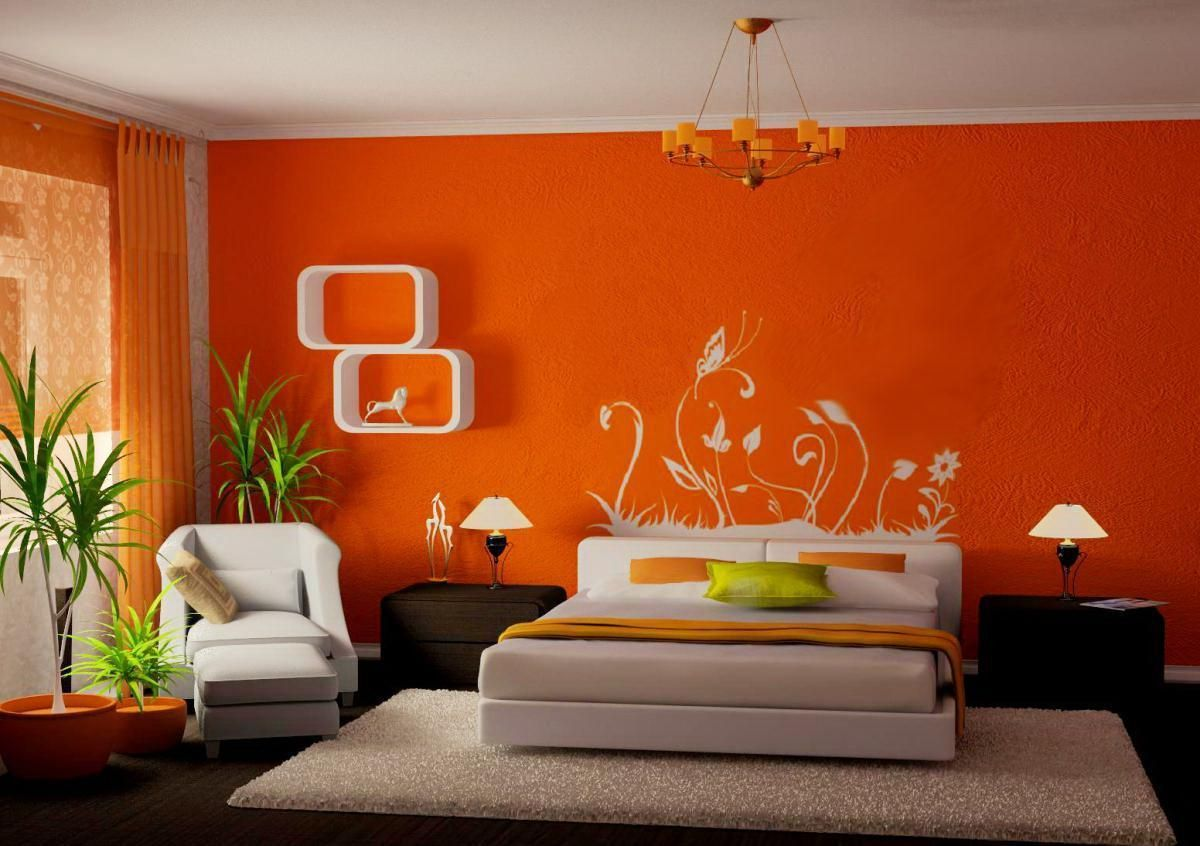Bedroom Beautiful Orange Paint Colors Bedroom Wall Design With