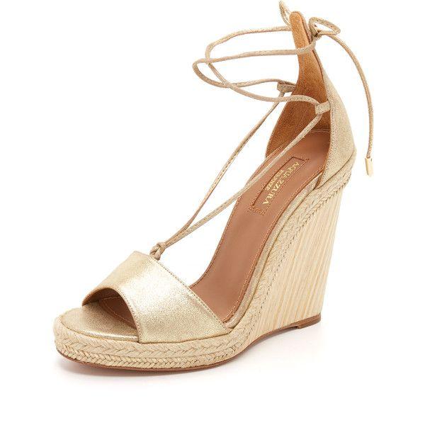 0fb6815c632 Aquazzura Alexa Wedge Espadrilles (2.145 BRL) ❤ liked on Polyvore featuring  shoes