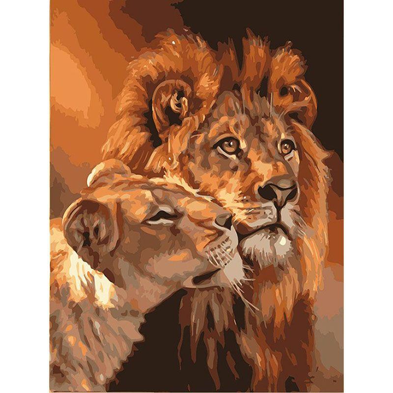 Sin marco El León Animal Pintura de DIY Por Los Kits de Los Números ...