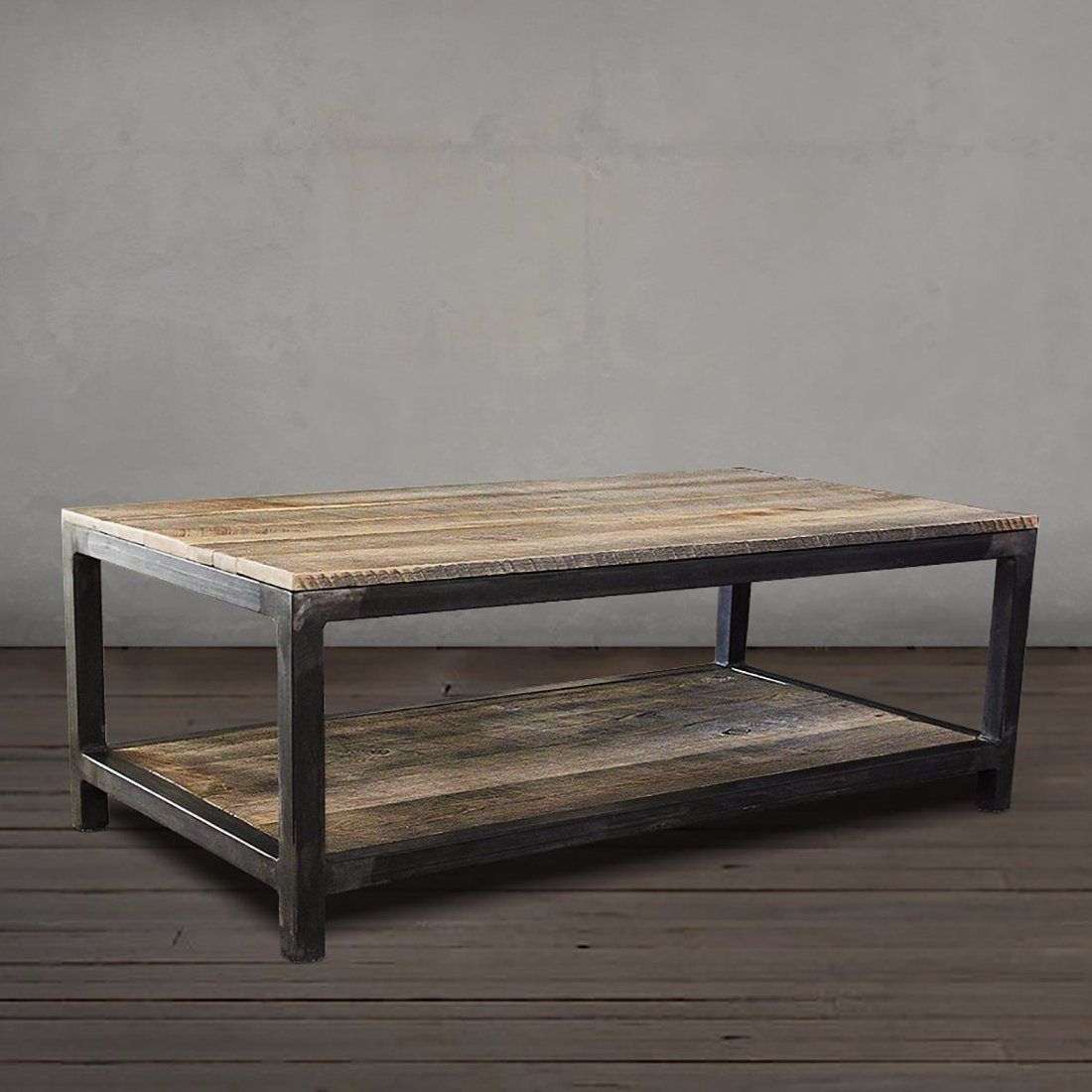 Reclaimed Wood And Metal Coffee Table Two Tier Free Shipping Jw Atlas Co