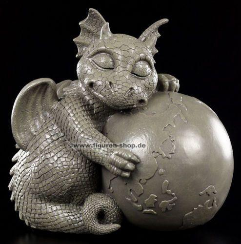 Garten-Figur-Drache-mit-Weltkugel-Gartenfigur-Statue-Dragon-Fantasy