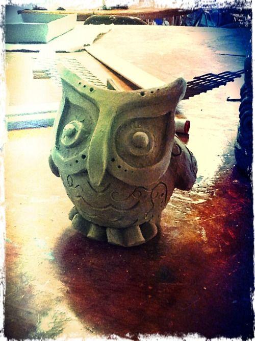 Original ceramic pinch pot owl