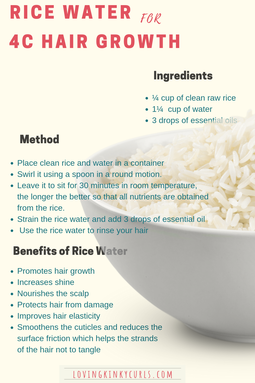 Here is one of the many rice water recipes that you can incorporate in your 4C natural hair routine for faster hair growth. For best results, use the rice water on a weekly basis. #hair #growth #ricewater #naturalhair #naturalhairgrowth #4chair #4chairgrowthtips