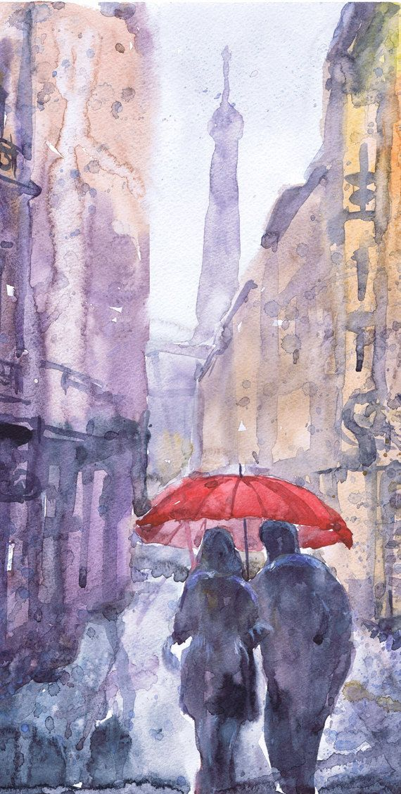 Paris Art Watercolor Painting Wall Art Rain Love Umbrella