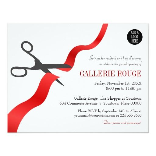 Simple Red Ribbon Cutting Grand Opening Invitation Zazzle Com