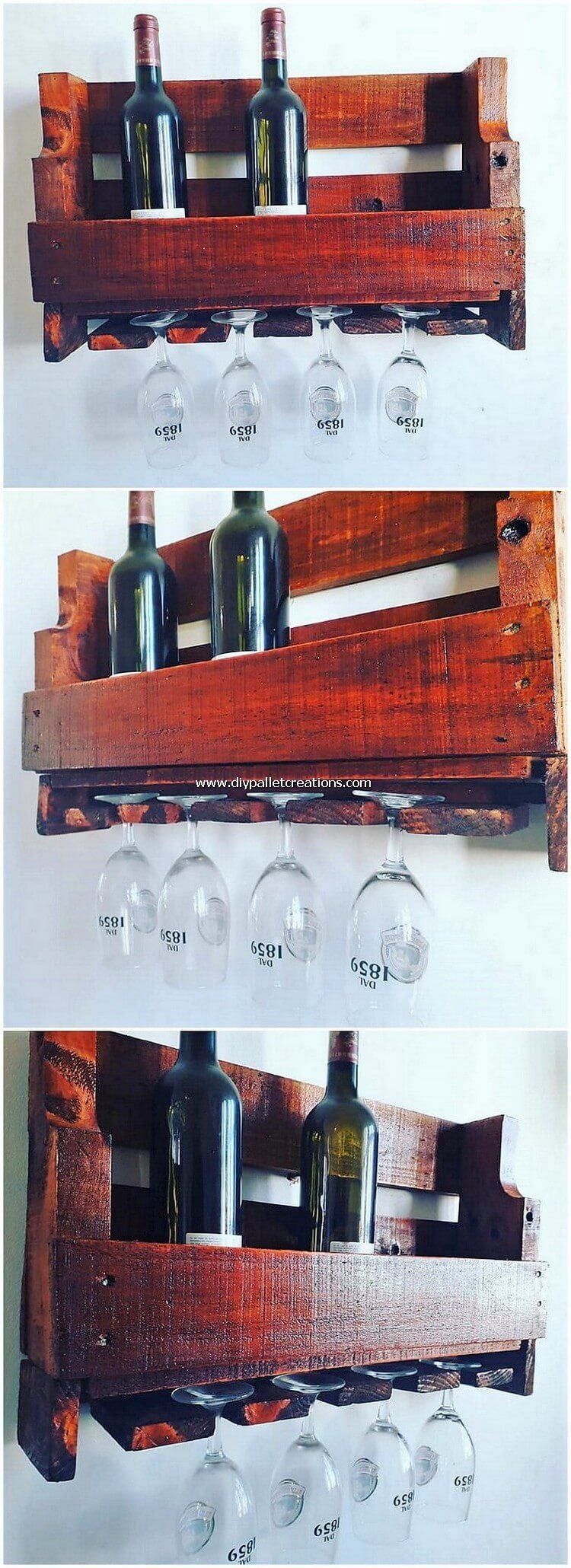 Locating On Top Of The Wall The Placement Of Wine Rack With Glass Holder Of Wood Pallet Looks Much Mesmerizing Here The Wi In 2020 Pallet Wood Pallets Pallet Artwork