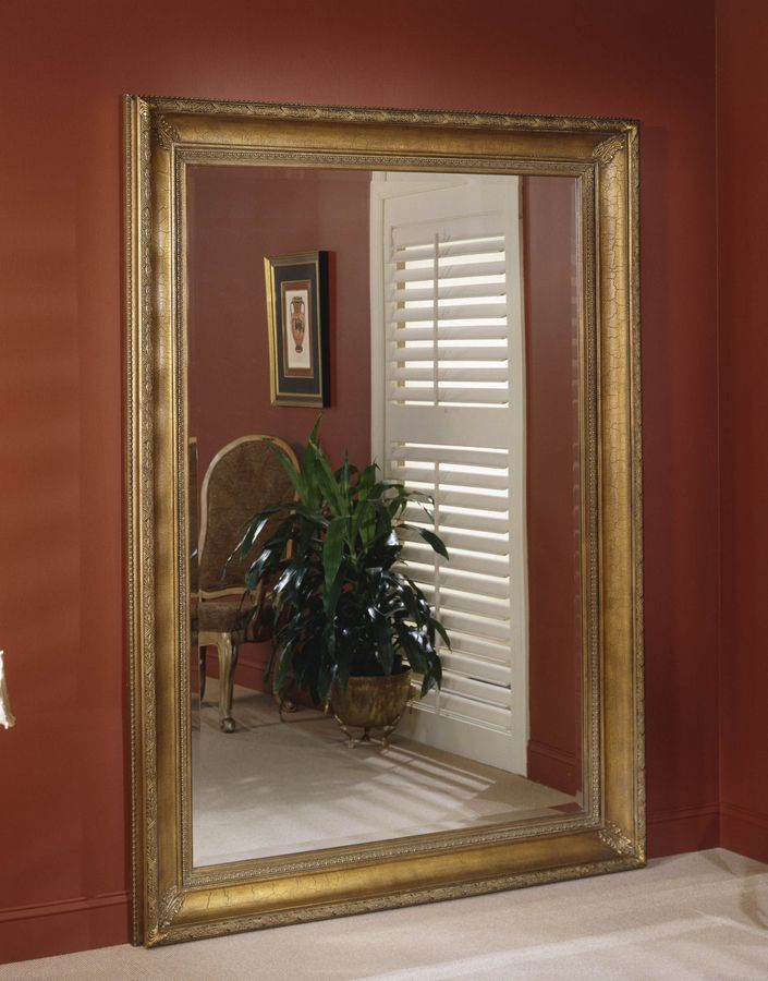 Extra Wide Wood Frame Antique Gold Crackle Finish Leaner Mirror ...