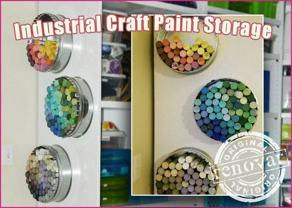 craft room decor industrial paint bottle storage, craft rooms, crafts, home decor, storage ideas