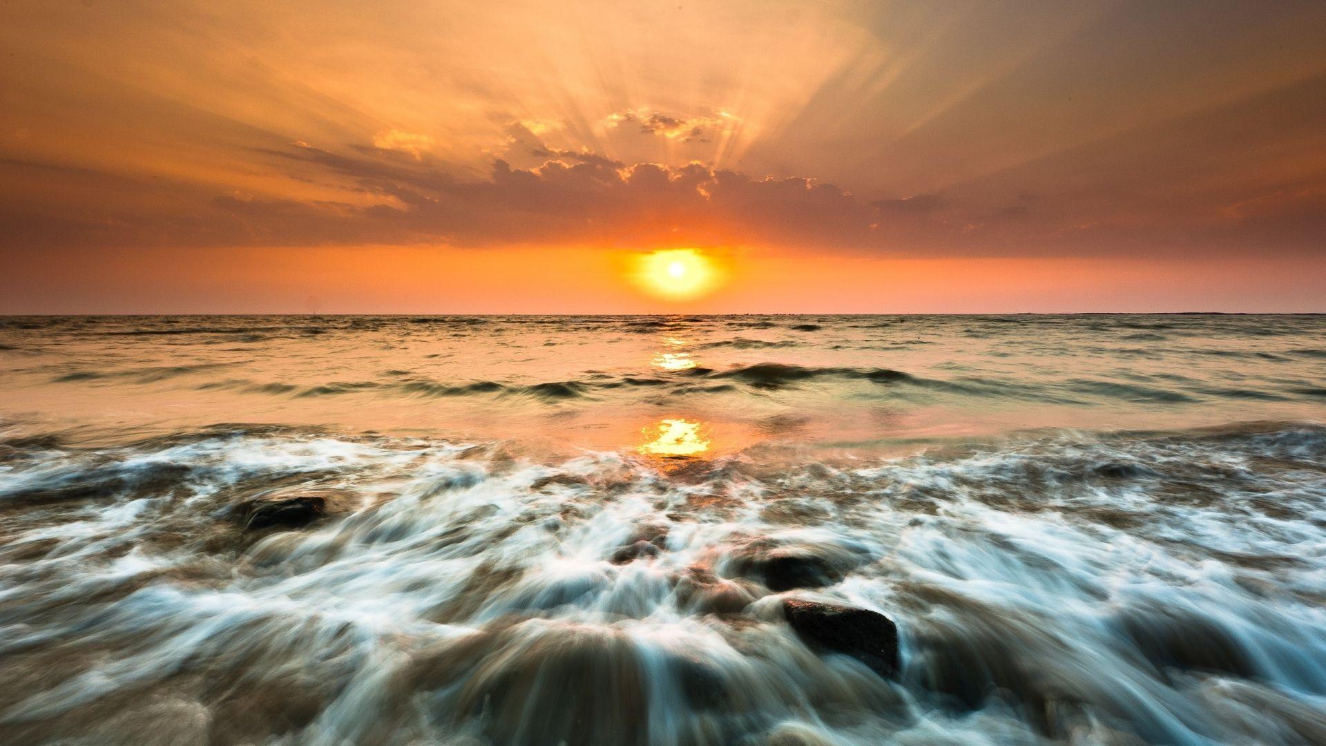sea, foam, sunset - http://www.wallpapers4u.org/sea-foam-sunset/