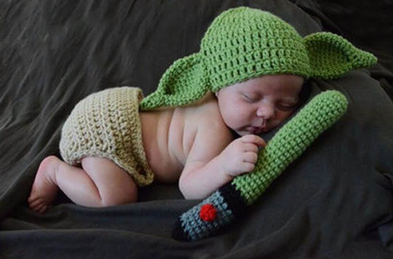 CROCHET YODA inspired DIAPER COVER BABY HAT SET infant toddler knit photo prop