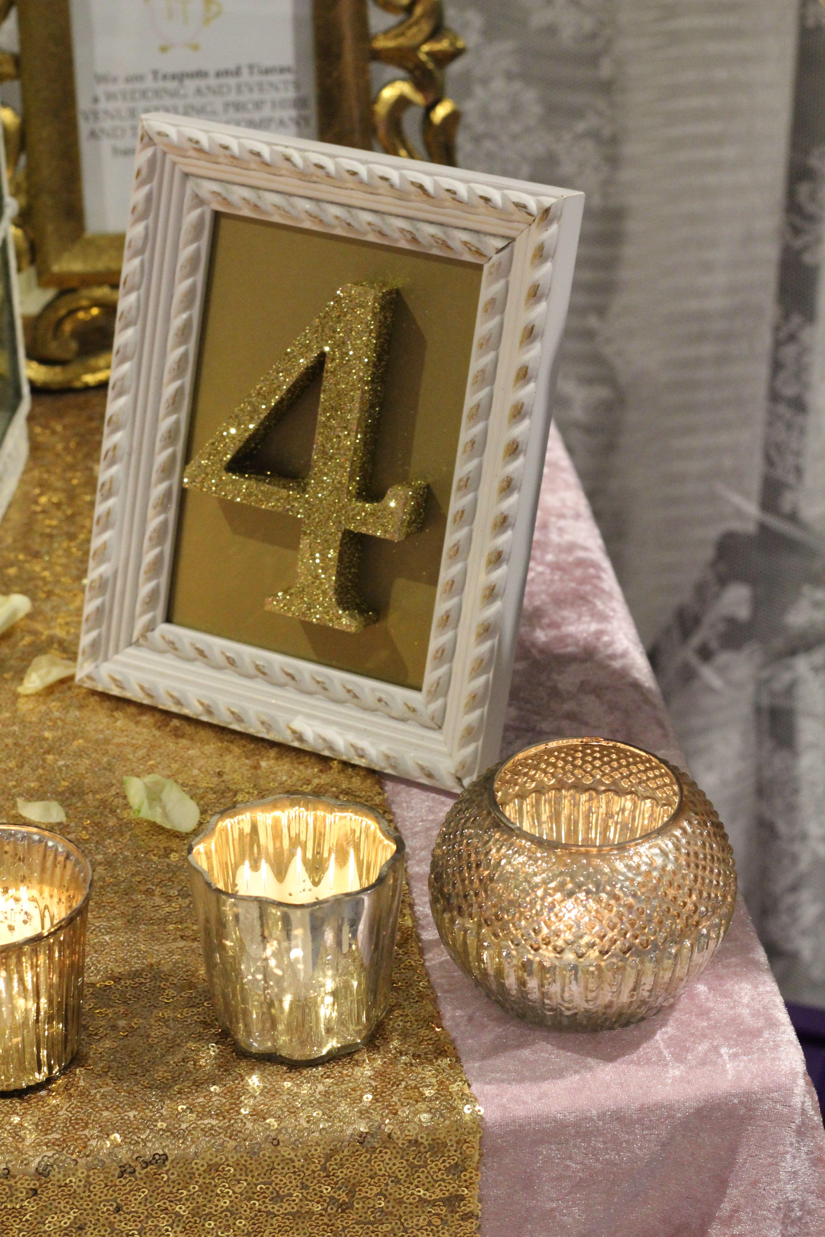 Framed glitter table number