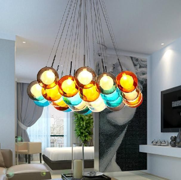 Colorful Glass ball pendant lamp chandelier of colorful glass – Color Chandelier