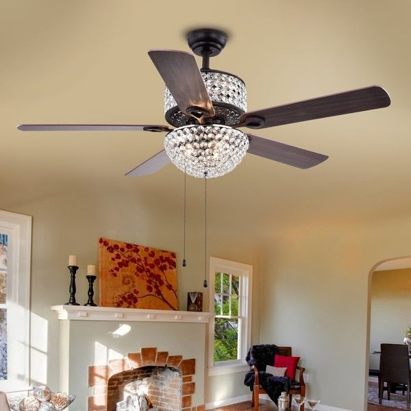 Laure crystal 6 light 52 inch ceiling fan 264 overstock camis laure crystal 6 light 52 inch ceiling fan 264 overstock mozeypictures Image collections