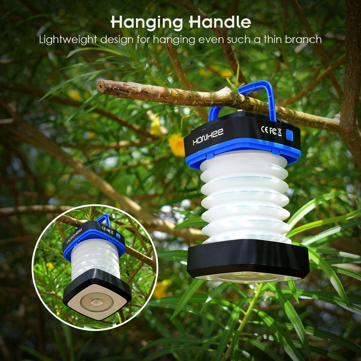 Honxee Led Camping Lantern Solar Rechargeable Lights With Solar Panel And Usb Charging Adjustable Brigh Led Camping Lantern Camping Lanterns Emergency Lighting
