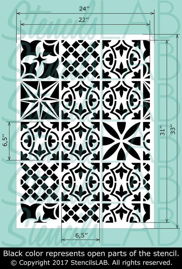 Patchwork Tile Stencil Furniture