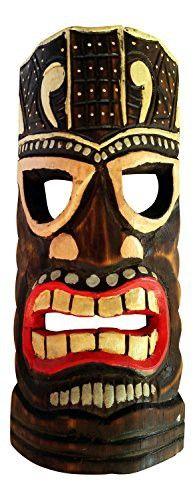 Colorful Painted Wooden Tiki Mask Wall Decor, 12   Tiki mask, Wall ...