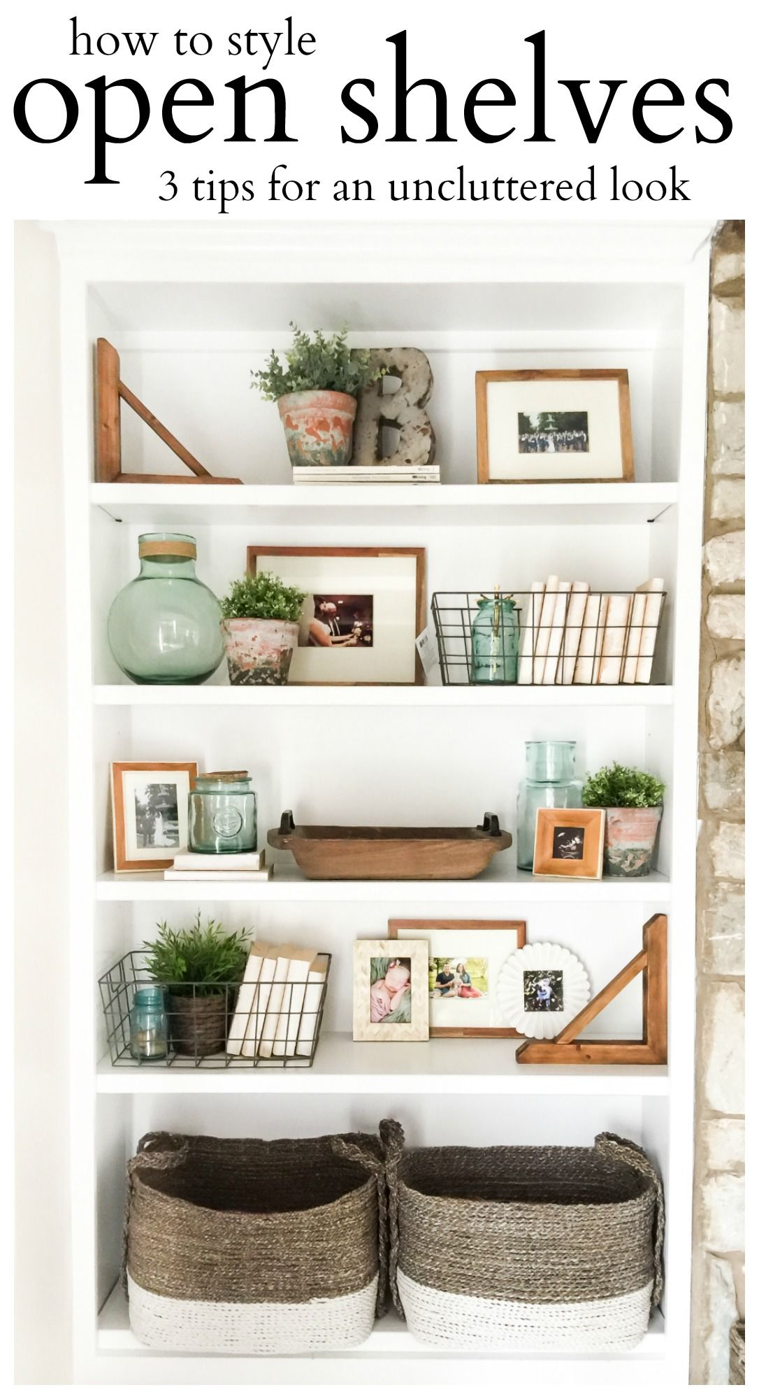 How To Style Open Shelves 3 Tips For An Uncluttered Look House By Hoff Bookcase Decor Living Room Shelves Shelf Decor Living Room