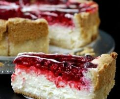Photo of Pudding sour cream cake with raspberry topping