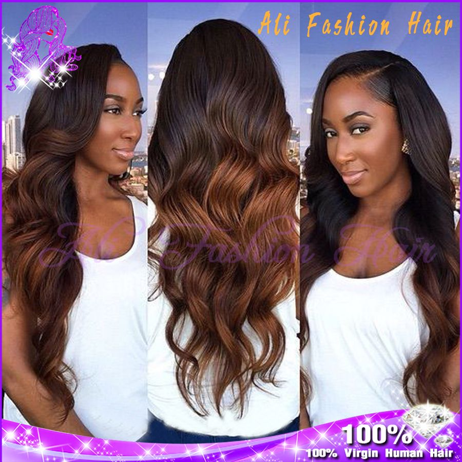 Top quality ombre glueless full lace wigs a brazilian body wave