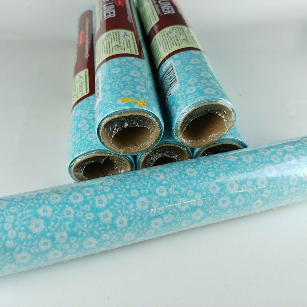 Rubbermaid Shelf Liner Light Blue White Flowers 6 Rolls Tack Back