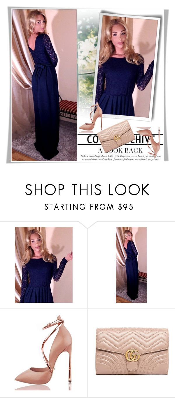 Navy blue top lace maxi dress round neck v back long sleeves pockets