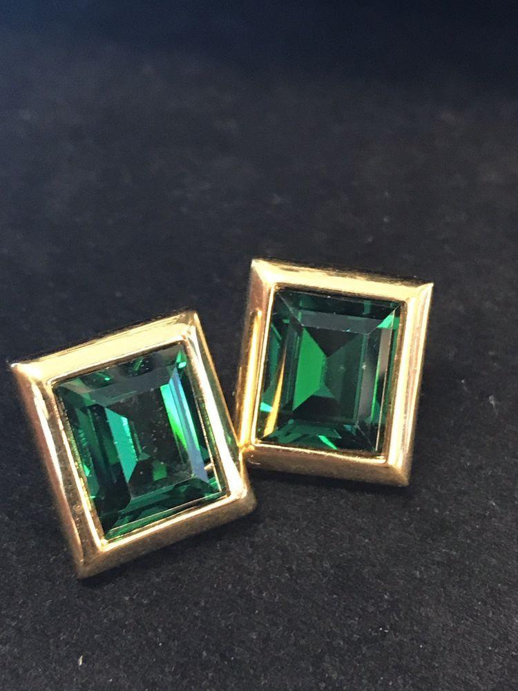 c0f99049d39ea Vintage Signed SAL Swarovski Emerald Green Crystal Rhinestone ...