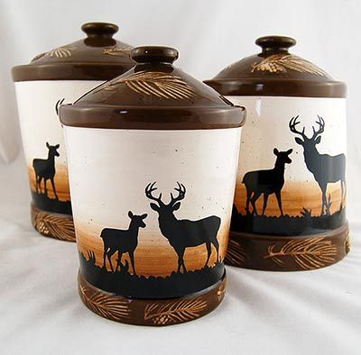 Rustic Deer 3 Piece Canister Set in 2019 | Canister sets ...