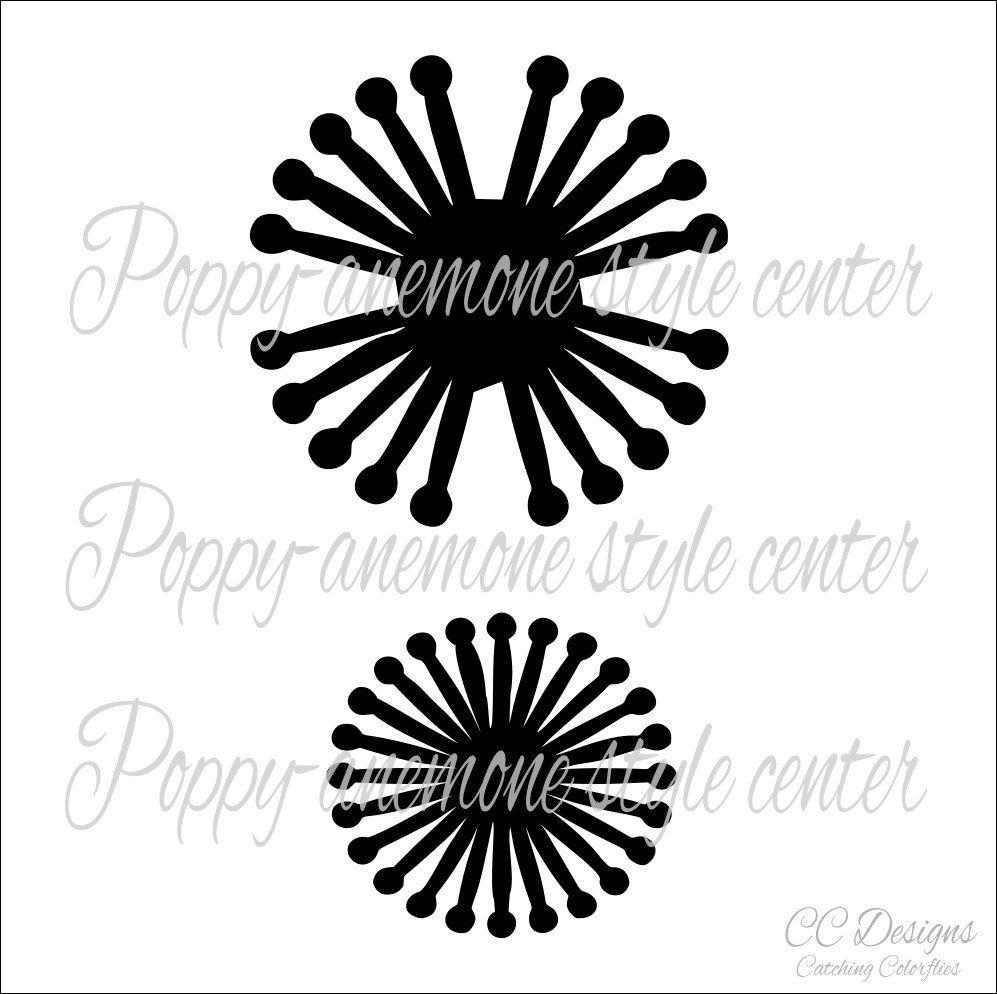 Poppy-Anemone Flower Center, SVG Cut files, Flower Center