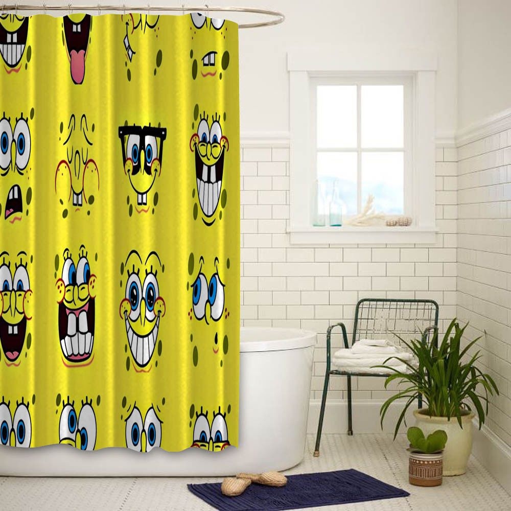 Spongebob Smile Face High Quality Custom Shower Curtain Size 60x72