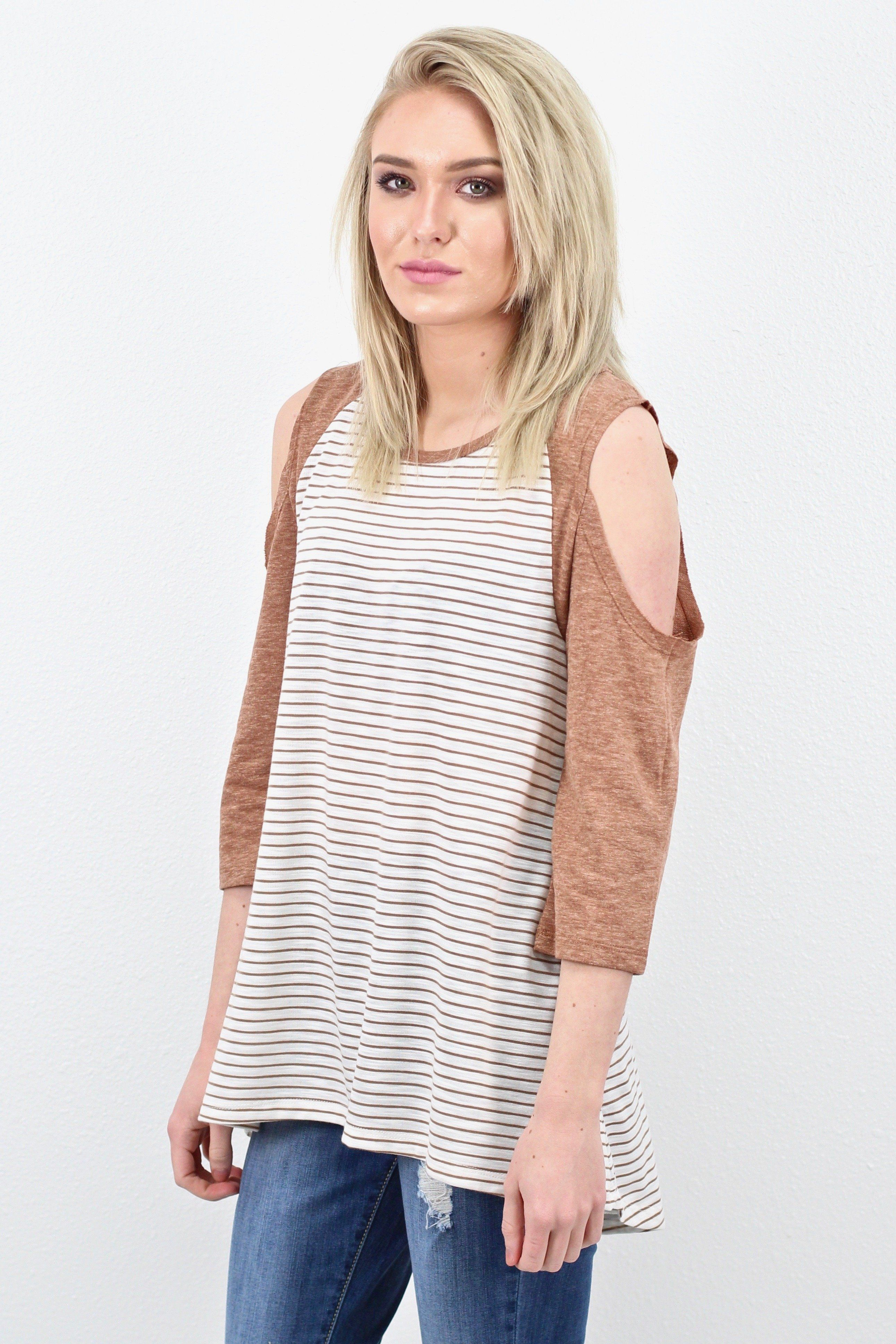 91abba28523e57 Girl Next Door Striped Open Shoulder  Clay  EXTENDED SIZES ...